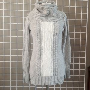 Chunky Knit Two Tone Cowl Neck Tunic
